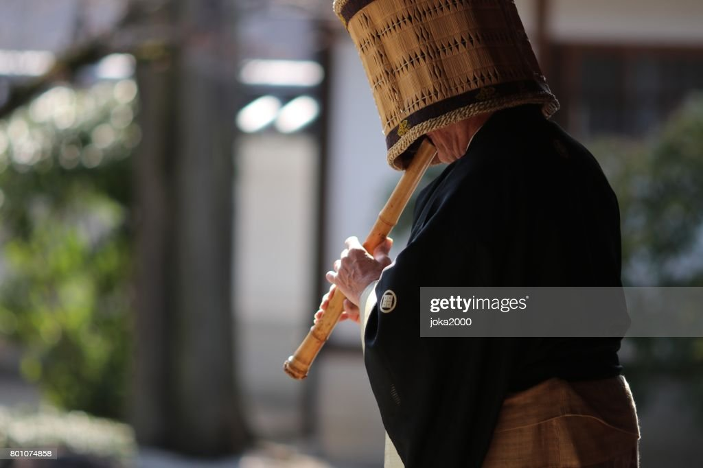 Playing Shakuhachi : Stock Photo