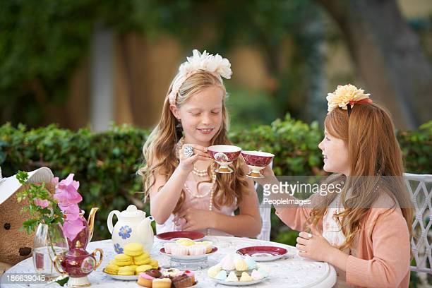 playing tea party is fun - tea party stock pictures, royalty-free photos & images