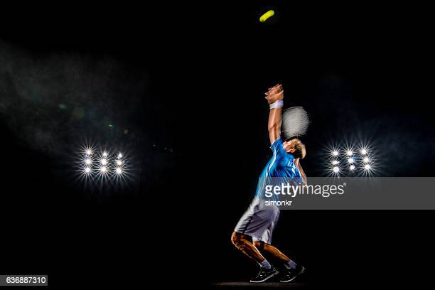 playing tennis at court - serving sport stock pictures, royalty-free photos & images