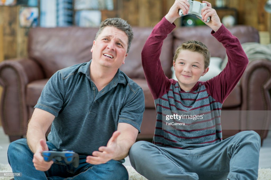 Playing Video Games : Stock Photo