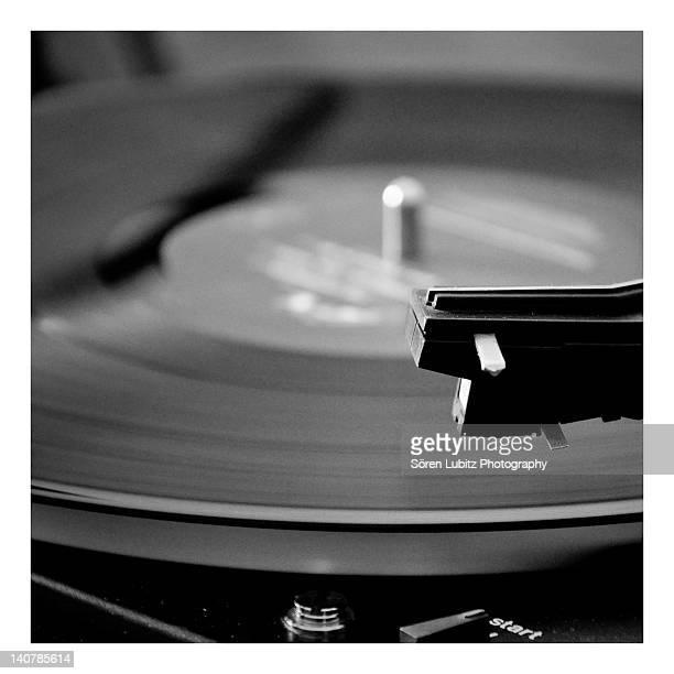 Playing vinyl turntable
