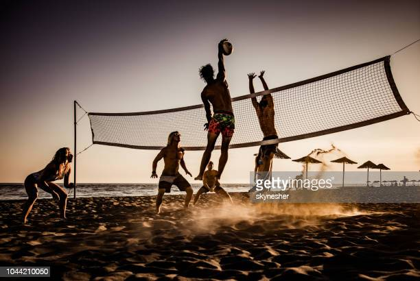 spielen sie volleyball am strand bei sonnenuntergang! - strand volleyball stock-fotos und bilder