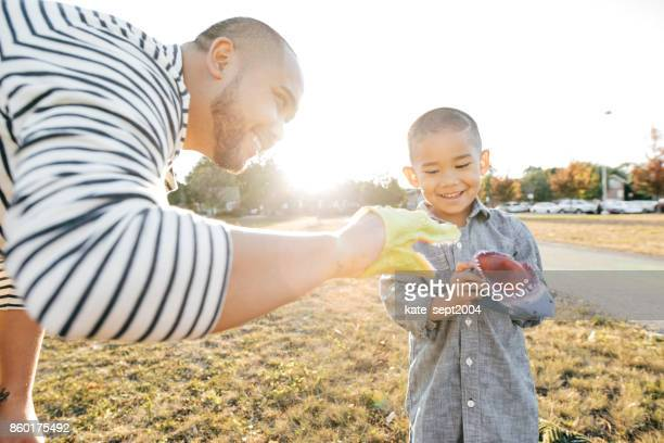 Playing with a dad outdoor
