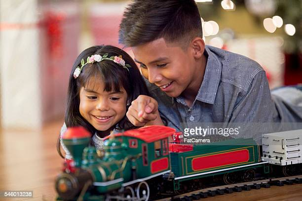Playing with a New Christmas Train