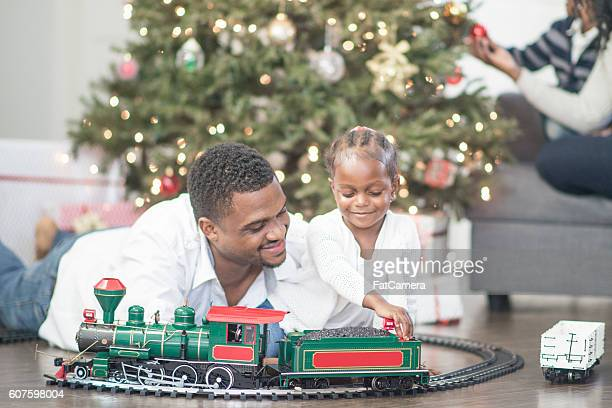 Playing with a New Toy Train