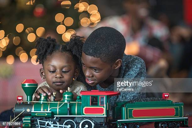 Playing with a Toy Train