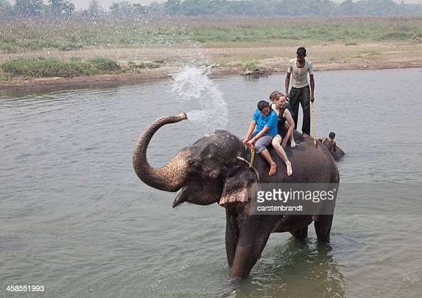 Playing with an elephant