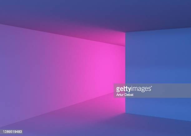 playing with colorful lights in indoor spaces with creative and minimal style. - architecture stock pictures, royalty-free photos & images