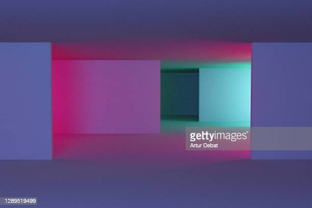 playing with colorful neon lights in indoor spaces with creative and minimal style. - lighting equipment stock pictures, royalty-free photos & images