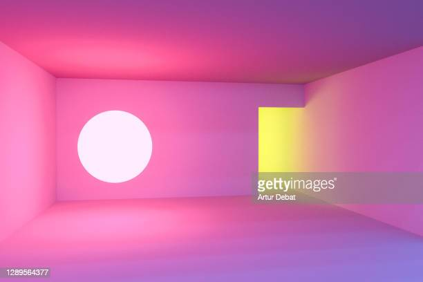 playing with colorful neon lights in indoor spaces with creative and minimal style. - architecture stock pictures, royalty-free photos & images