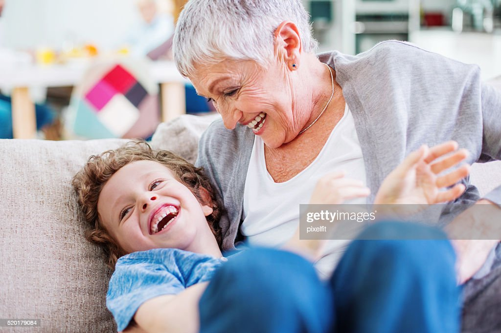 Playing with my grandson : Stock Photo