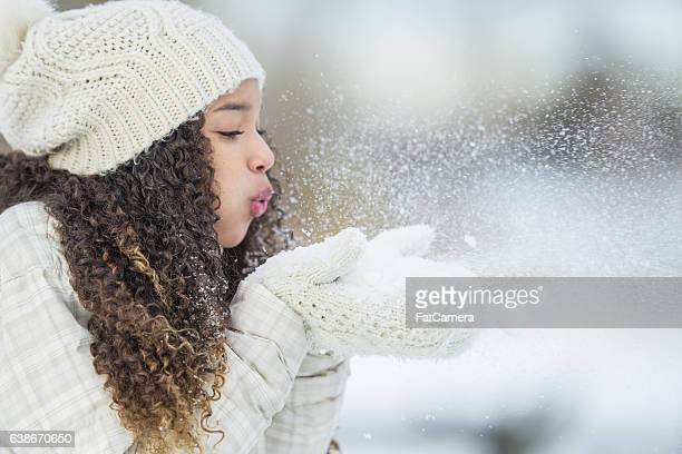 playing with snow outside - mitten stock pictures, royalty-free photos & images