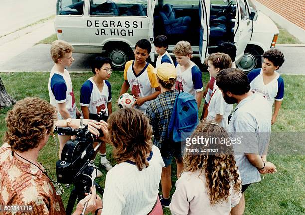 Playing with Time Cast and crew gather on the set of Degrassi Junior High a new 13episode children's series that will air in January on CBC The young...