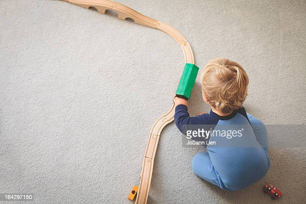 Playing with Wooden Trains