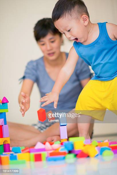 Playing woman and boy