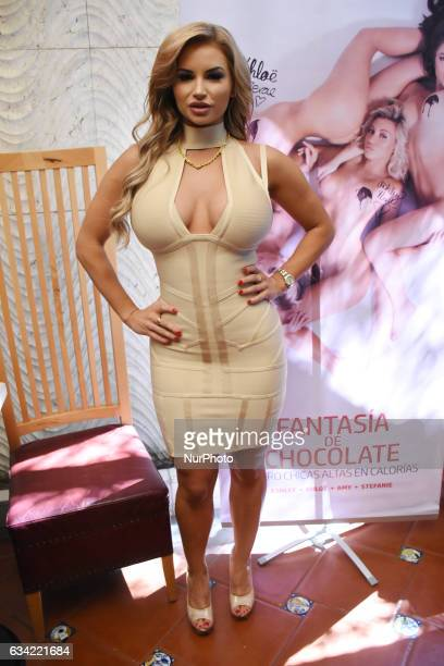 Playmate Amy Lee Summers poses a photo during the launch of 'Chocolate Fantasies' Playboy Mexico Magazine at Rustic Kitchen on February 07 2017 in...