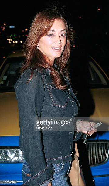 Playmate Ava Fabian poses outside the Latin Lounge on August 8 2002 in West Hollywood California
