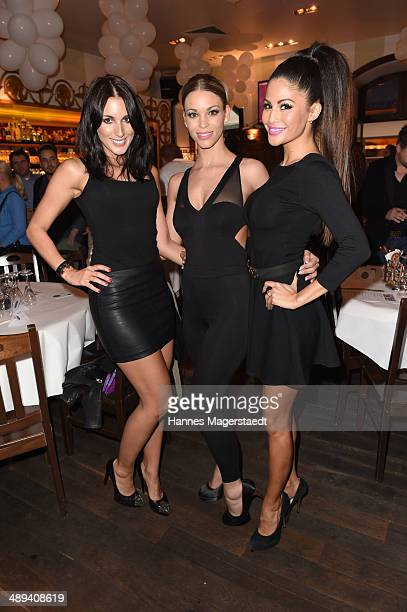 Playmate Barbora Kuzmiakova Nina Schwake and Playmate Mia Gray attend 9 Years Anniversary Bachmaier Hofbraeu at Bachmaier Hofbraeu on May 10 2014 in...