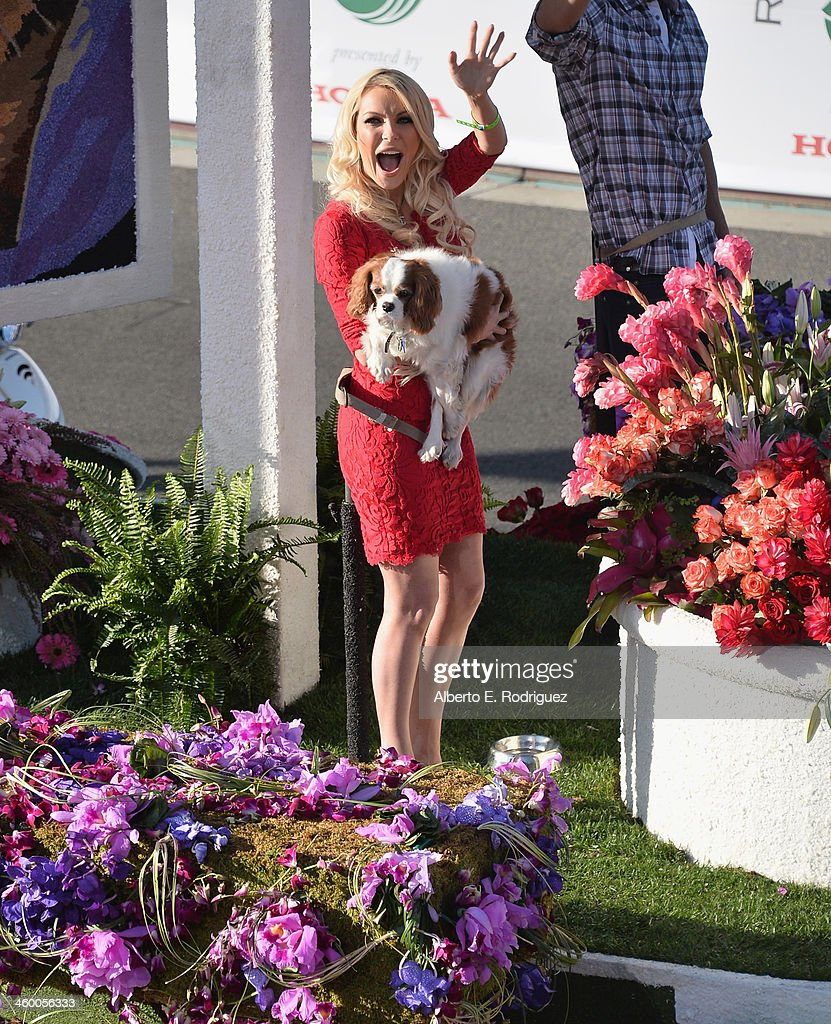 Playmate Crystal Hefner on the Beverly Hills Pet Foundation float attends the 125th Tournament of Roses Parade Presented by Honda on January 1, 2014 in Pasadena, California.