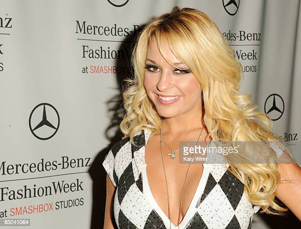 Playmate Heather Rene Smith attends the Spring 2009 MercedesBenz Fashion Week held at Smashbox Studios on October 12 2008 in Culver City California