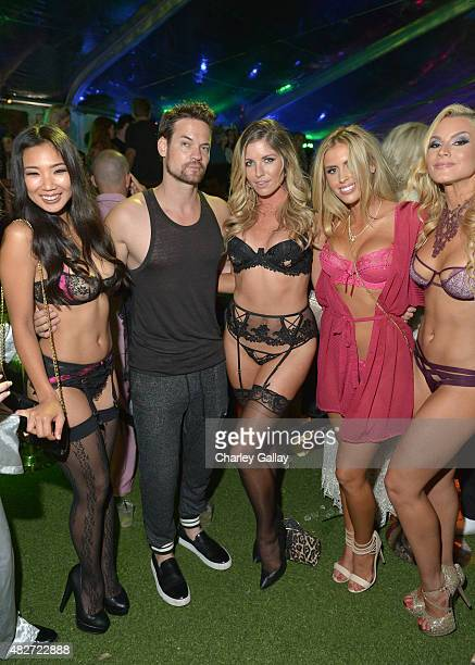 Playmate Hiromi Oshima actor Shane West and Playmates Carly Lauren Kayla Rae Reid and Shannon James attend the annual Midsummer Night's Dream Party...