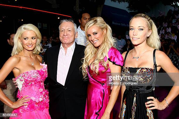 Playmate Holly Madison publisher Hugh Hefner playmate Bridget Marquardt and playmate Kendra Wilkinson arrive at Columbia Pictures' premiere of 'House...