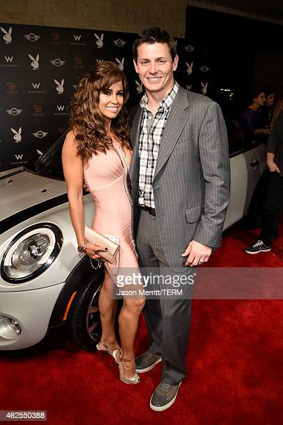 Playmate Jennifer Walcott and Football player Adam Archulet aarrive at the Playboy Party at the W Scottsdale During Super Bowl Weekend on January 30...