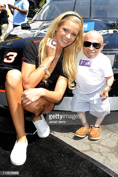 Playmate Jessa Hinton and actor Verne Troyer arrive at the Celebrity GoKart Tournament benefiting the American Diabetes Association at K1 Speed...