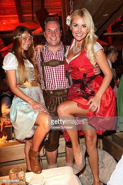 Playmate Jessica Kuehne Editor in chief of PlayboyFlorian Boitin and Playmate Denise Cotte during the Oktoberfest 2015 at Kaeferschaenke at...