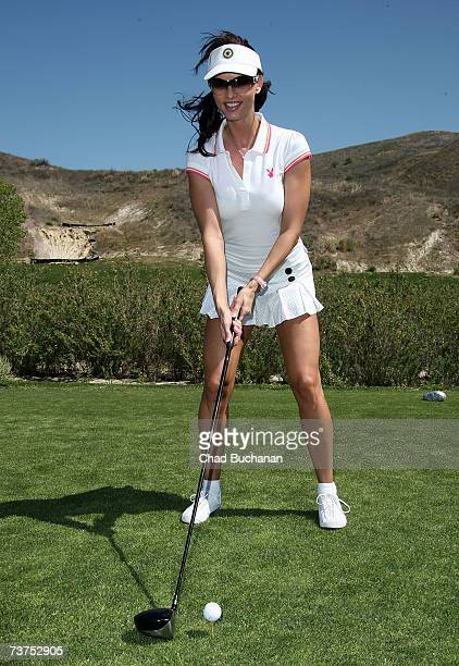 Playmate Karen McDougal attends the 7th Annual Playboy Golf Scramble championship finals at Lost Canyons Golf Club on March 30 2007 in Simi Valley...