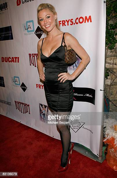 Playmate Kelly Carrington attends the Leather and Lace 2nd Annual Party at the Playboy Mansion on October 4 2008 in Beverly Hills California