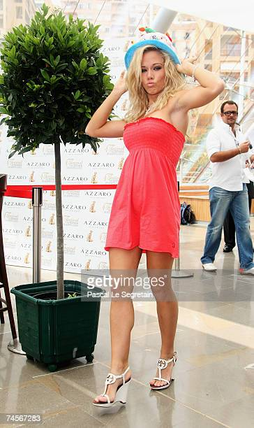 Playmate Kendra Wilkinson attends a photocall promoting the television serie 'Girls Next Door' on the second day of the 2007 Monte Carlo Television...