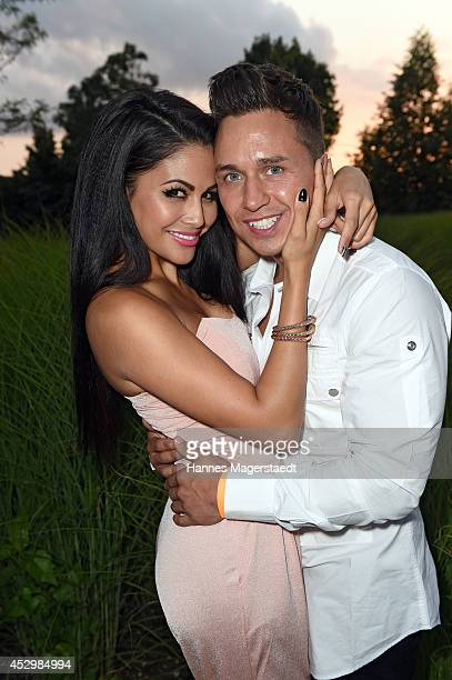 Playmate Mia Gray and her boyfriend Oliver Kobs attend the 'Citroen C4 Cactus' Munich Preview at Leonardo Royal Hotel on July 31 2014 in Munich...
