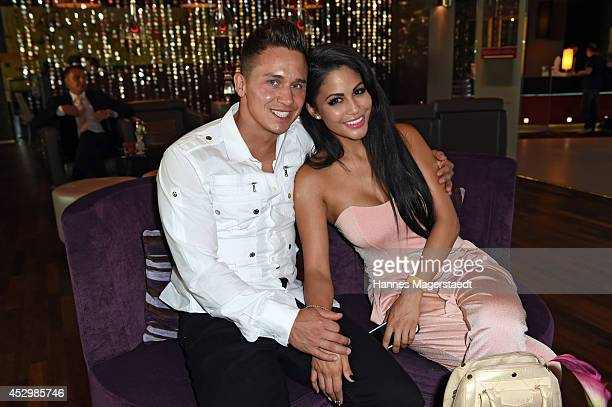 Playmate Mia Gray and her boyfriend Oliver Kobs attend the 'Citroen C4 Cactus' Munich Preview at Leonardo Royal Hotel on July 31, 2014 in Munich,...