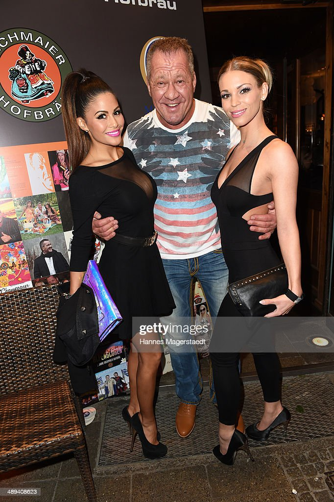 Playmate Mia Gray, Hugo Bachmaier and Nina Schwake attend 9 Years Anniversary Bachmaier Hofbraeu at Bachmaier Hofbraeu on May 10, 2014 in Munich, Germany.