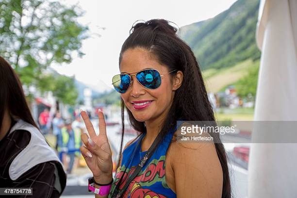 Playmate Mia Gray poses for a picture during the Ischgl Cart Trophy 2015 on June 27 2015 in Ischgl Austria