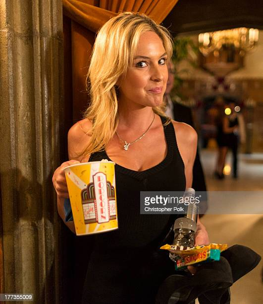 Playmate Michelle McLaughlin attends a special movie night gathering held by Porsche and Playboy at The Playboy Mansion on August 22 2013 in Beverly...