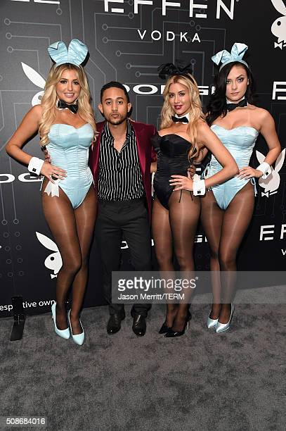 Playmate Monica Sims actor Tahj Mowry playmates Heather Rae Young and Alexandra Tyler arrive at The Playboy Party during Super Bowl Weekend which...