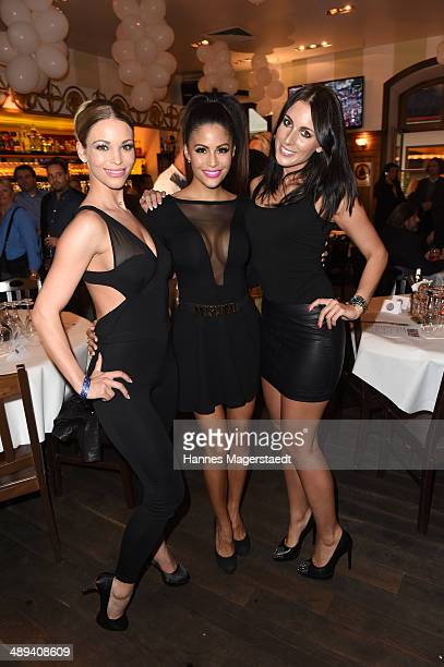 Playmate Nina Schwake Barbora Kuzmiakova and Playmate Mia Gray attend 9 Years Anniversary Bachmaier Hofbraeu at Bachmaier Hofbraeu on May 10 2014 in...