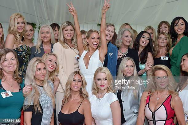 Playmate of the Year Dani Mathers and playmates attend Playboy's 2015 Playmate of the Year Ceremony at the Playboy Mansion on May 14 2015 in Los...