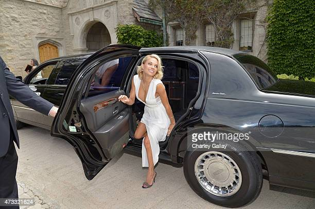 Playmate of the Year Dani Mathers gets ready for Playboy's 2015 Playmate of the Year Ceremony at the Playboy Mansion on May 14 2015 in Los Angeles...