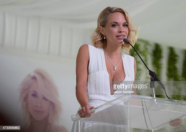 Playmate of the Year Dani Mathers speaks onstage during Playboy's 2015 Playmate of the Year Ceremony at the Playboy Mansion on May 14 2015 in Los...