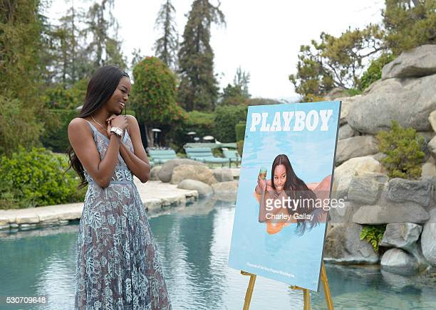 Playmate of the Year Eugena Washington poses for a portrait during Playboy's 2016 Playmate of the Year Announcement at the Playboy Mansion on May 11...