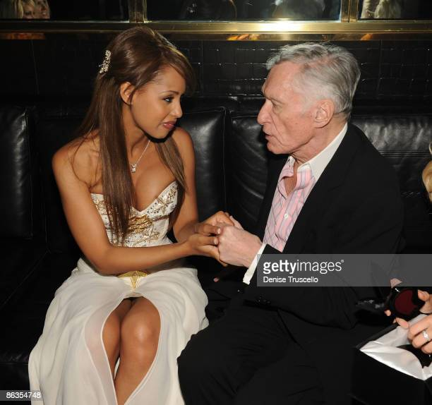 Playmate of the Year Ida Ljungqvist and Hugh Hefner attend the Playboy Club at The palms Casino Resort on May 2 2009 in Las Vegas Nevada