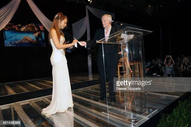 Playmate of the Year Ida Ljungqvist and Hugh Hefner attends the 50th Annual Playmate of the Year at Palms Casino Resort on May 2 2009 in Las Vegas...
