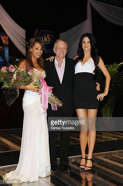 Playmate of the Year Ida Ljungqvist Hugh Hefner and Jayde Nicole at Palms Hotel Casino on May 2 2009 in Las Vegas Nevada