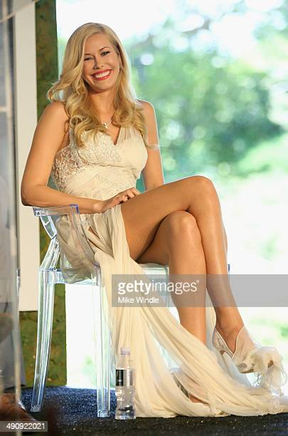 Playmate Of The Year Kennedy Summers onstage during Playboy's 2014 Playmate Of The Year Announcement and Reception at The Playboy Mansion on May 15...