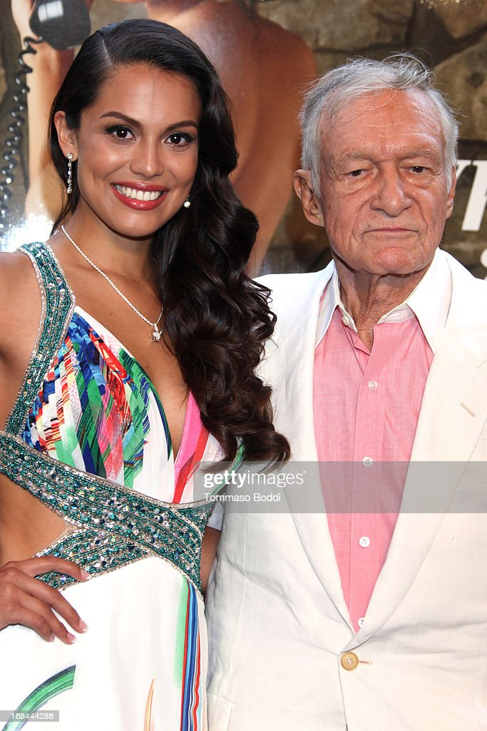 Playmate Of The Year Raquel Pomplun (L) and founder of Playboy Enterprises Hugh Hefner attend the 2013 Playboy Playmate of the Year announcement and reception held at The Playboy Mansion on May 9, 2013 in Beverly Hills, California.
