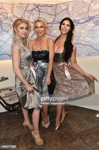 Playmate Ramona Bernhard Yvonne Woelke and Micaela Schaefer attends Trachtentrends 2018 at Sheraton on April 12 2018 in Munich Germany