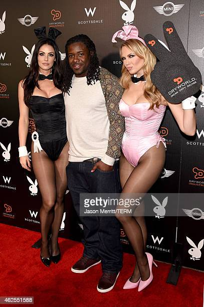 Playmate Summer Altice professional football player Eddie Lacy and playmate Irina Voronina arrive at the Playboy Party at the W Scottsdale During...